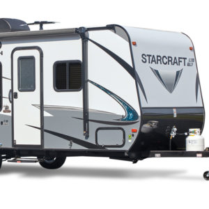 camper with a hitch and propane tank